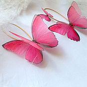Украшения ручной работы. Ярмарка Мастеров - ручная работа Асимметричные сережки-бабочки с Розовыми Морфо, Шелковые бабочки. Handmade.