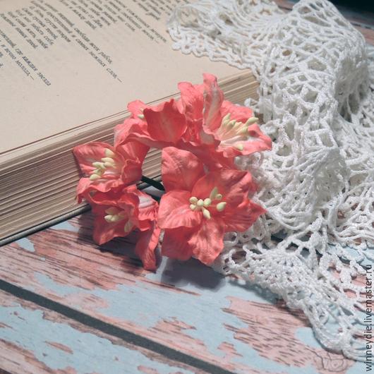 Открытки и скрапбукинг ручной работы. Ярмарка Мастеров - ручная работа. Купить Лилии коралловые 5 шт. Handmade. Коралловый, красный