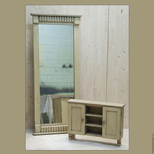 Зеркала ручной работы. Ярмарка Мастеров - ручная работа. Купить Настенное зеркало с тумбочкой (античная патина). Handmade. Комбинированный, дерево