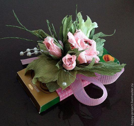 Персональные подарки ручной работы. Ярмарка Мастеров - ручная работа. Купить Сладкий букет. Handmade. Розовый, букет из конфет