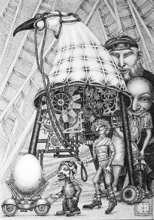 Фантазийные сюжеты ручной работы. Ярмарка Мастеров - ручная работа. Купить Креативщики. Handmade. Чёрно-белый, картина в подарок, механика
