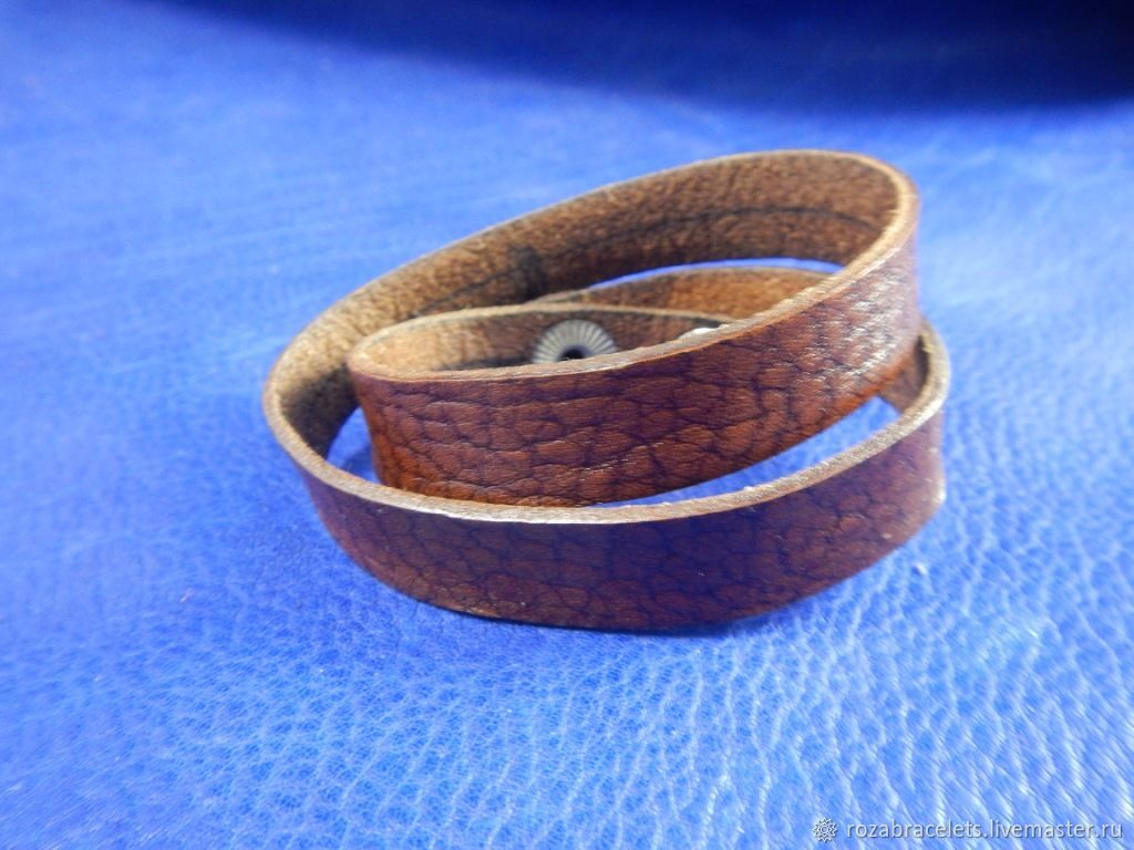 Leather bracelet winding for 2 turns Brown, Bead bracelet, Ulyanovsk,  Фото №1