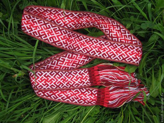 Ткачество ручной работы. Ярмарка Мастеров - ручная работа. Купить Пояс браный. Handmade. Ярко-красный, Ткачество, пояс с символами