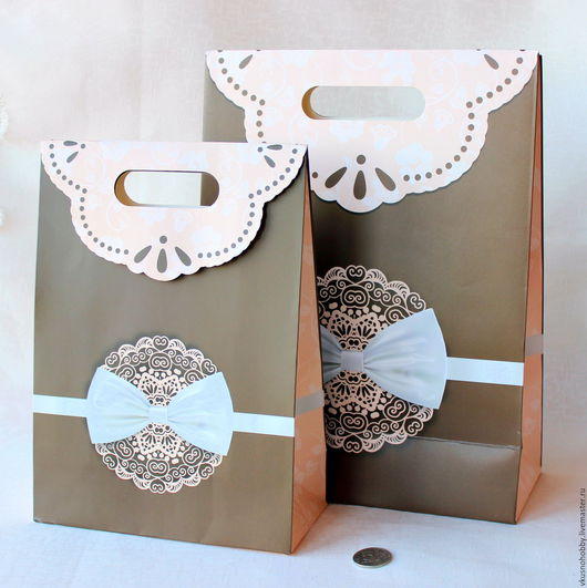 """Упаковка ручной работы. Ярмарка Мастеров - ручная работа. Купить Пакет """"Кружево на шоколадном фоне"""",  24х32х10,5 см, 19х26,5х9 см. Handmade."""