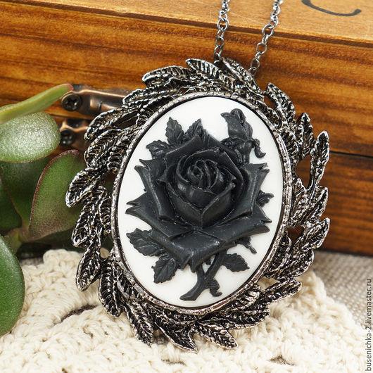 Броши ручной работы. Ярмарка Мастеров - ручная работа. Купить Брошка-подвеска Камея Черная роза (30х40мм). Handmade.