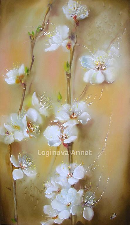 Картины цветов ручной работы. Ярмарка Мастеров - ручная работа. Купить Нежное цветение. Handmade. Сакура, цветы, бежевый, ветки