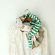 Аксессуары handmade. Livemaster - original item scarf. Patchwork. Silk and cotton Liberty. Green stripes and roses. Handmade.