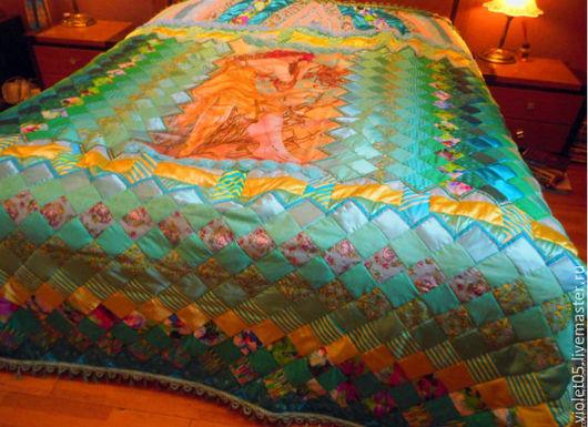 """Текстиль, ковры ручной работы. Ярмарка Мастеров - ручная работа. Купить Покрывало """"Девушка - весна"""" - переложение в батик работы А.Муха. Handmade."""