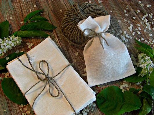 Упаковка ручной работы. Ярмарка Мастеров - ручная работа. Купить Льняные мешочки. Handmade. Белый, изо льна, мешочки, 10х15