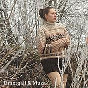 Одежда ручной работы. Ярмарка Мастеров - ручная работа Вязаный шерстяной свитер с норвежским рисунком. Handmade.
