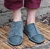 Обувь ручной работы handmade. Livemaster - original item Espadrilles shoes lace up leather Beige. Handmade.