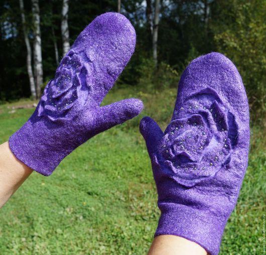 Варежки, митенки, перчатки ручной работы. Ярмарка Мастеров - ручная работа. Купить Валяные варежки. Handmade. Тёмно-синий