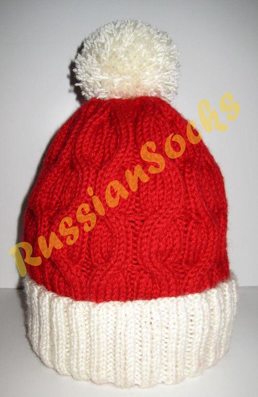 Вязаная шапка Деда Мороза шапка Снегурочки