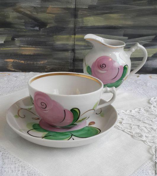 Винтажная посуда. Ярмарка Мастеров - ручная работа. Купить Чайная пара и молочник. Handmade. Комбинированный, советский фарфор, блошка, СССР