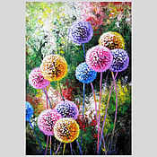 Картины и панно handmade. Livemaster - original item Dandelion flower art Original acrylic painting. Handmade.