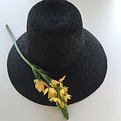 Аксессуары ручной работы. Ярмарка Мастеров - ручная работа Соломенная шляпа купол из черной соломки. Handmade.