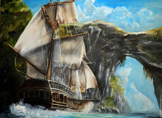 Пейзаж ручной работы. Ярмарка Мастеров - ручная работа. Купить Картина маслом Корабль. Handmade. Путешествие, корабль, парусник, парус