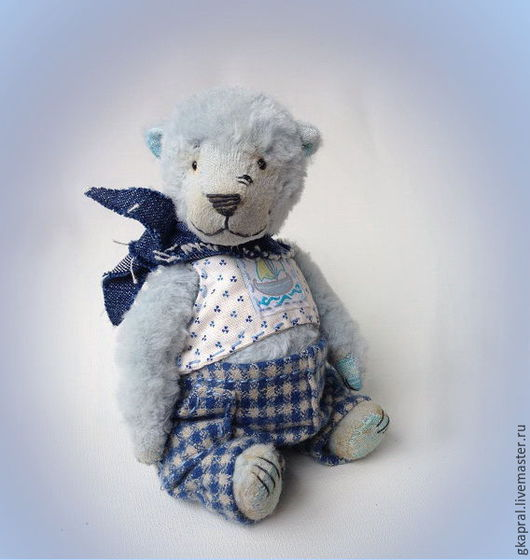 Мишки Тедди ручной работы. Ярмарка Мастеров - ручная работа. Купить Билли. Handmade. Голубой, медведь, ручная работа