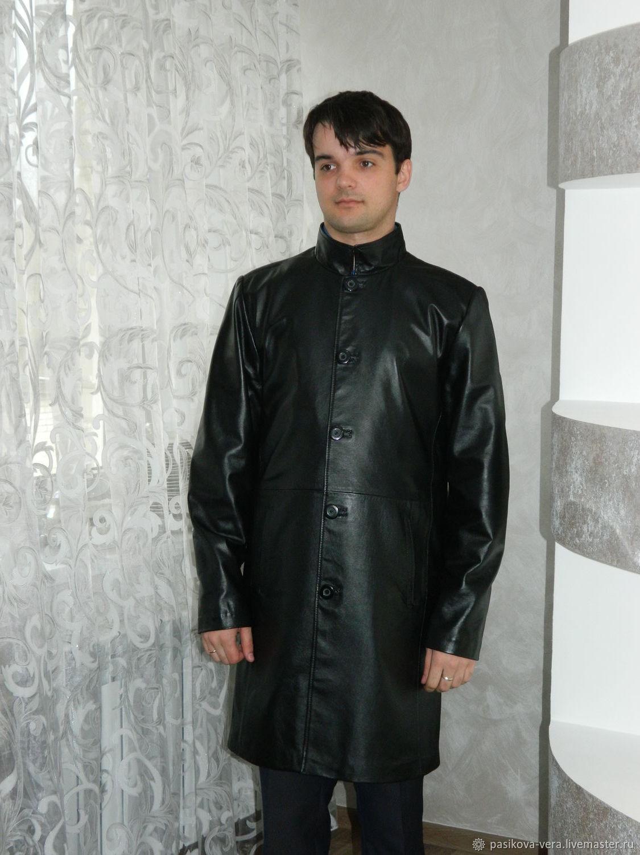 Кожаный мужской плащ на пуговицах арт.917, Верхняя одежда мужская, Арзамас,  Фото №1