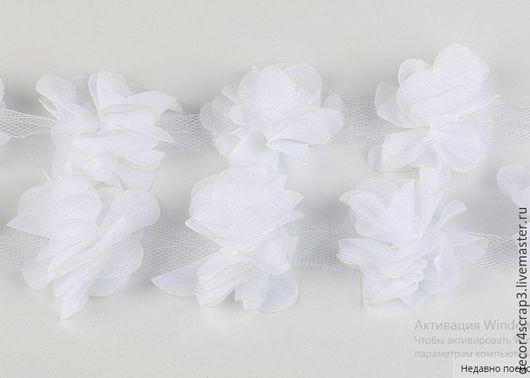 Открытки и скрапбукинг ручной работы. Ярмарка Мастеров - ручная работа. Купить Шифоновые цветы на сетке. Handmade. Белый, шифоновые цветы