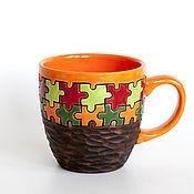 """Посуда ручной работы. Ярмарка Мастеров - ручная работа Чашка """"Пазл оранжевый"""". Handmade."""