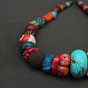 Украшения handmade. Livemaster - original item Large beads of medium length with natural stones in an ethnic style. Handmade.