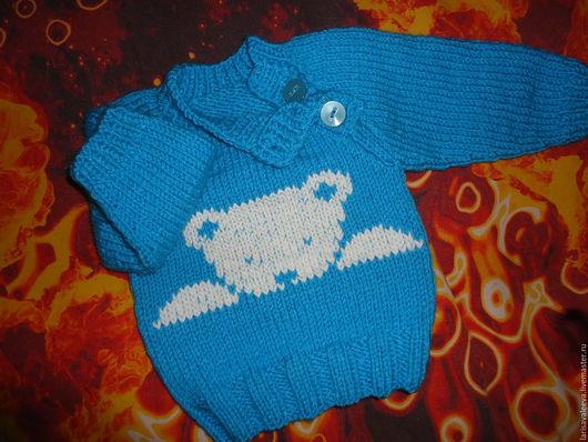 Одежда для мальчиков, ручной работы. Ярмарка Мастеров - ручная работа. Купить свитерок для малыша. Handmade. Бирюзовый, пуговицы