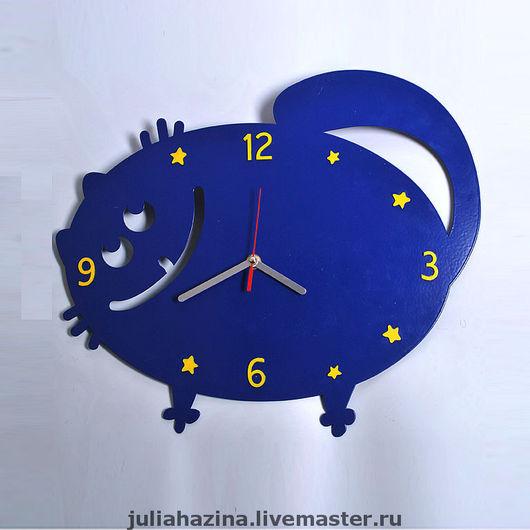"""Часы для дома ручной работы. Ярмарка Мастеров - ручная работа. Купить настеные часы """"Ночной кот"""". Handmade. Настенные часы"""