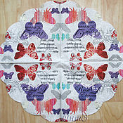 Материалы для творчества handmade. Livemaster - original item Napkin for decoupage musical butterfly with lettering print. Handmade.