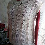 Одежда ручной работы. Ярмарка Мастеров - ручная работа жилет женский спицами ажурный от Илоны. Handmade.