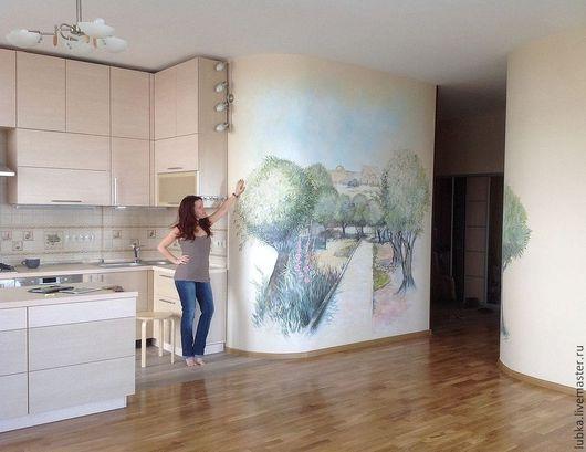 Роспись стен в гостиной Роспись стен в квартире Роспись стен на заказ Роспись стен фреска Роспись стен оливковая роща