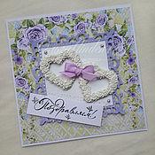 """Свадебный салон ручной работы. Ярмарка Мастеров - ручная работа открытка"""" Сердца из роз"""". Handmade."""