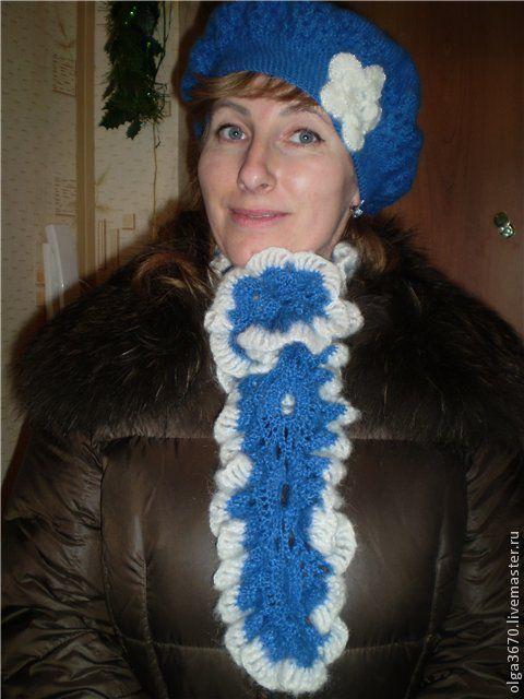 Береты ручной работы. Ярмарка Мастеров - ручная работа. Купить Берет и шарфик. Handmade. Тёмно-синий, крючком, шарф вязаный