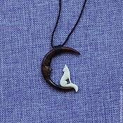 """Украшения handmade. Livemaster - original item Tribal Pendant Necklace, """"Singing wolf"""" Adjustable Wax Cotton Rope,Han. Handmade."""