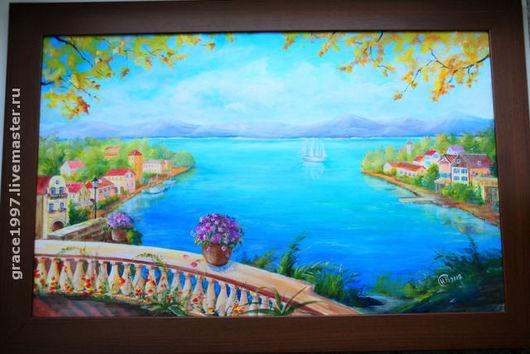 """Пейзаж ручной работы. Ярмарка Мастеров - ручная работа. Купить """"Осенняя ривьера"""". Handmade. Авторская работа, Средиземное море, хризантемы"""