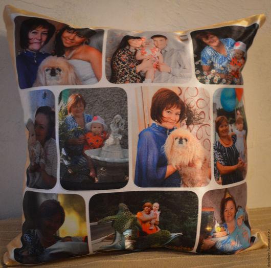 Текстиль, ковры ручной работы. Ярмарка Мастеров - ручная работа. Купить Подушка с фото на подушке подарок женщине на день рождения, маме. Handmade.