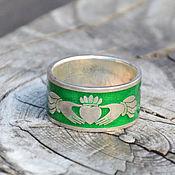 Подарки к праздникам ручной работы. Ярмарка Мастеров - ручная работа Кладдахское кольцо с эмалью (широкое). Handmade.