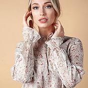 Одежда handmade. Livemaster - original item SCARLETT blouse with cotton nude lining. Handmade.