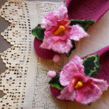 Обувь ручной работы. Ярмарка Мастеров - ручная работа Тапочки-шлепки валяные из шерсти Розовая орхидея. Handmade.
