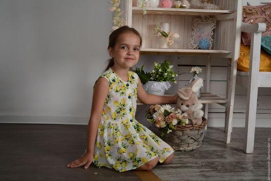 Одежда для девочек, ручной работы. Ярмарка Мастеров - ручная работа. Купить платье для девочки из шелка  Лимоны. Handmade. Платье