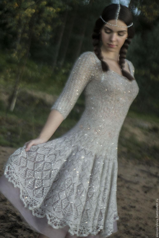 Платье ажурное спицами из мохера