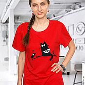 Футболки ручной работы. Ярмарка Мастеров - ручная работа Красная женская футболка Котик, свободная летняя футболка из хлопка. Handmade.