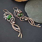 Украшения handmade. Livemaster - original item copper long earrings, long earrings chrome diopside. Handmade.