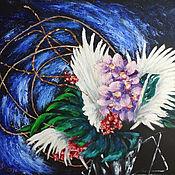 Картины ручной работы. Ярмарка Мастеров - ручная работа Икебана из орхидей на чёрном фоне. Handmade.