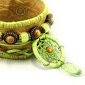 Украшения ручной работы. Ярмарка Мастеров - ручная работа Браслет ловец-снов светло-зеленый. Handmade.