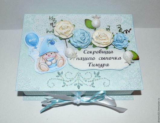 Подарки для новорожденных, ручной работы. Ярмарка Мастеров - ручная работа. Купить Мамины сокровища для мальчика на 5 коробочек. Handmade. Голубой