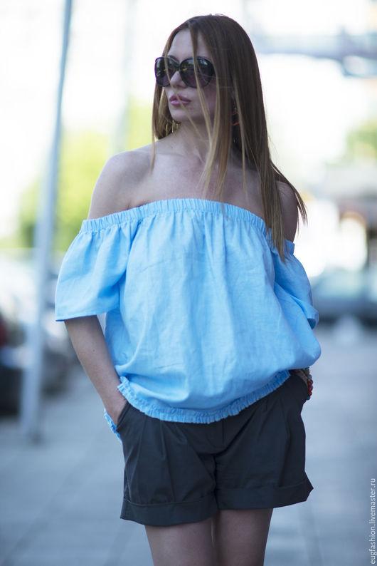 Блузка. Блузка из льна. Голубая блузка. Блузка с коротким рукавом. Блузка. Ручная работа. Ярмарка Мастеров.