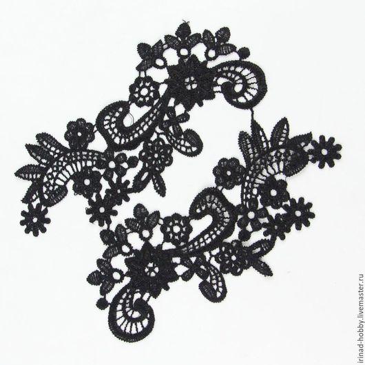 Аппликации, вставки, отделка ручной работы. Ярмарка Мастеров - ручная работа. Купить Кружевной элемент (№20). Handmade. Черный, отделка