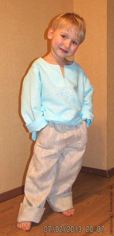 Одежда для мальчиков, ручной работы. Ярмарка Мастеров - ручная работа. Купить Детский комплект Доброяр. Handmade. Голубой, льняная одежда