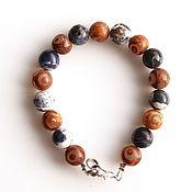 handmade. Livemaster - original item Bracelet with natural stones sodalite and agate JI. Handmade.